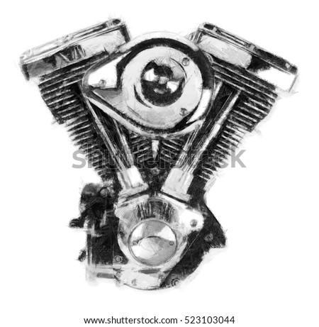 Vtwin Motorcycle Engine Pencil Sketch Stock Illustration ...