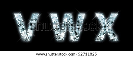V,W,X - font made from a disco ball - stock photo