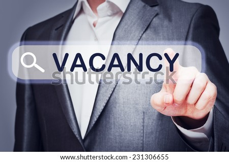 Vacancy concept written on virtual screen. Web search - stock photo