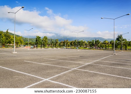 Vacant Parking Lot ,Parking lane outdoor in public park  - stock photo
