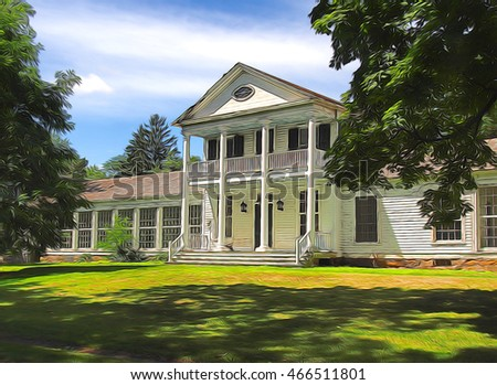 vacant plantation home on a summer day