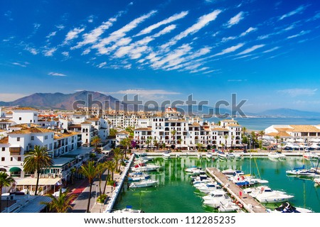 Vacation apartments in Duquesa port in Spain on the Costa del Sol - stock photo