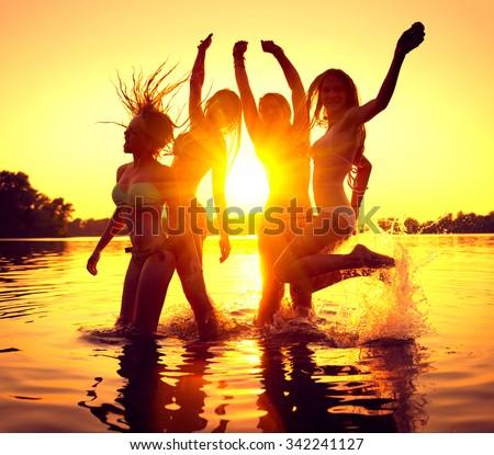 vacation beach party teenage girls having stock photo