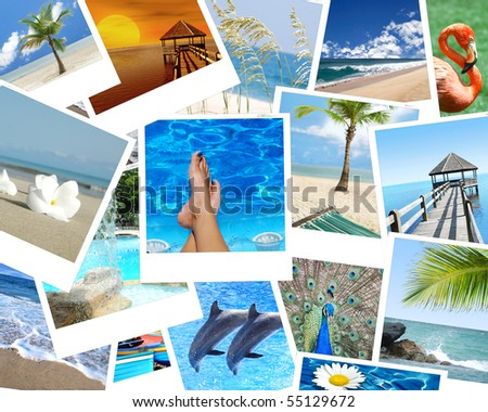 vacation collage photos - stock photo