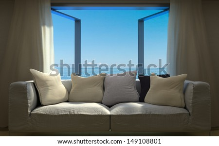 vacation concept background with interior elements - stock photo