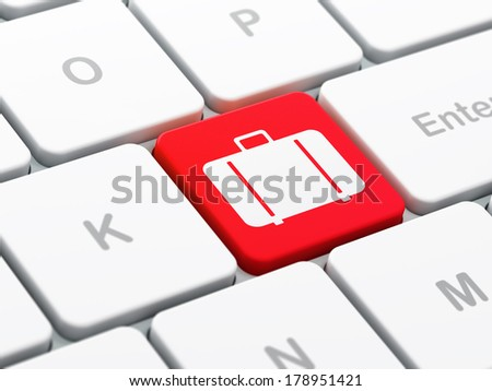 Vacation concept: computer keyboard with Bag icon on enter button background, selected focus, 3d render - stock photo