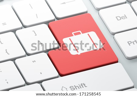 Vacation concept: Enter button with Bag on computer keyboard background, 3d render - stock photo