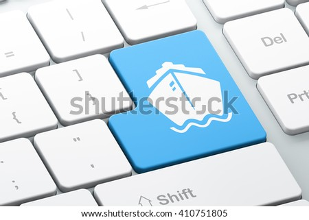 Vacation concept: Enter button with Ship on computer keyboard background, 3D rendering