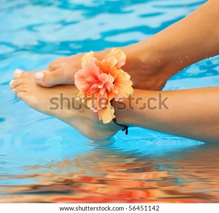 Vacation concept.Legs in the swimming pool - stock photo