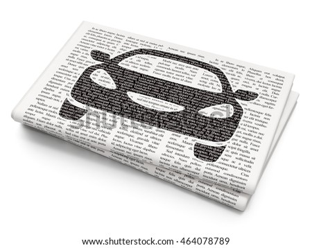Vacation concept: Pixelated black Car icon on Newspaper background, 3D rendering