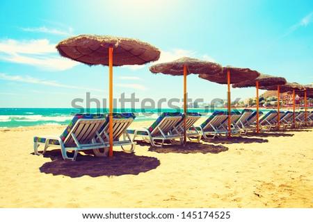 Vacation Concept. Spain. Beach on Costa del Sol. Mediterranean Sea - stock photo