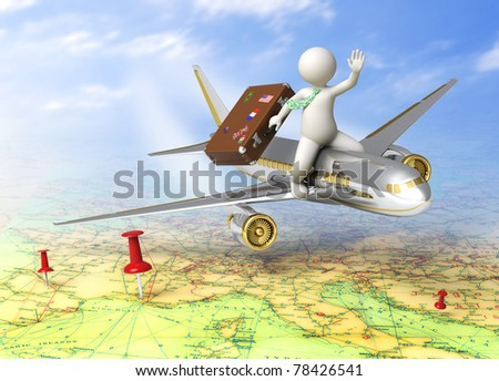 Vacation - 3d guy flying on a plane, carrying his suitcase - Tourism concept - stock photo