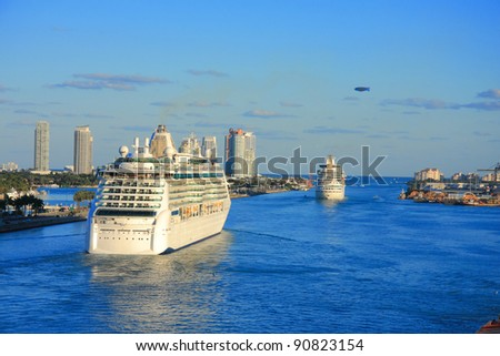 Vacation day in Miami with funny ship . - stock photo