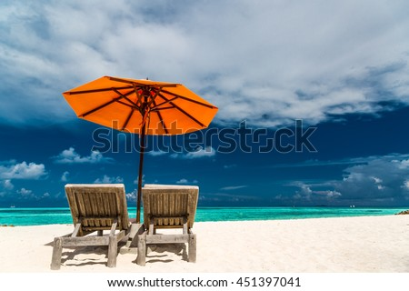 Vacation Holidays Background Wallpaper Two Beach Lounge Chairs Under Tent On