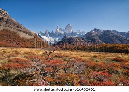 Vacation in South Patagonia, Mt. Fitz Roy with Autumn Climate in South Patagonia, Argentina
