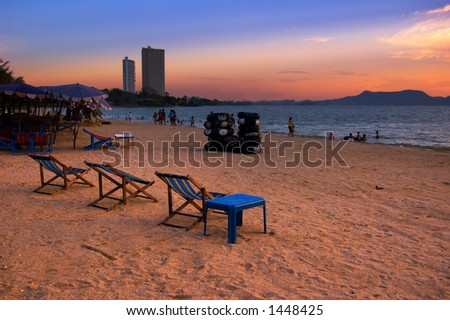 Vacation Location:Pattaya Beach, Thailand - stock photo