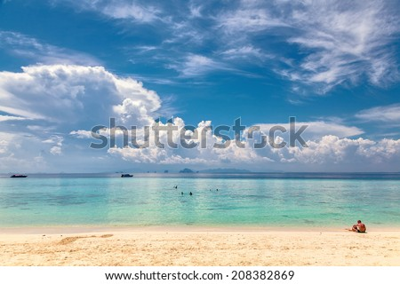 Vacation on Bamboo Island in Thailand. (Island Mai Pai. Phi Phi archipelago. Thailand.) - stock photo