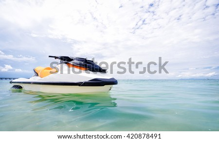 Vacation on the shore. Two water scooter on beach with beautiful sea view.