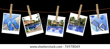 Vacation pool photography on clothespins