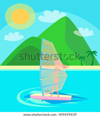 vacation, summer, heat, sporty young girl with pleasure rides on the windsurfing on the waves of the ocean in the background beach with palm trees, green mountains and blue sky illustration - stock photo