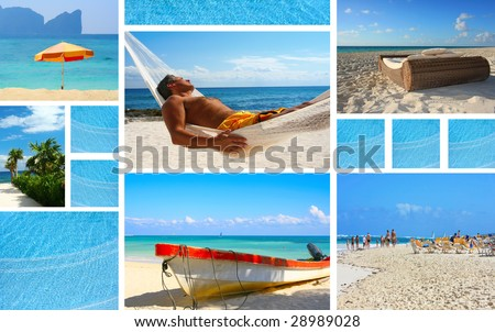 Vacation theme collage. - stock photo