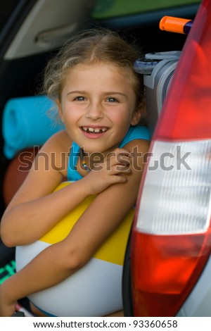 Vacation, Travel - child ready for the travel for summer vacation - stock photo