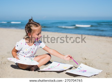 Vacation, travel, education and people concept. Cute little girl painting on the seaside - stock photo
