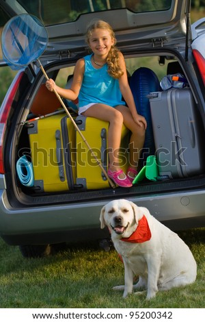 Vacation, Travel - family ready for the travel for summer vacation - stock photo