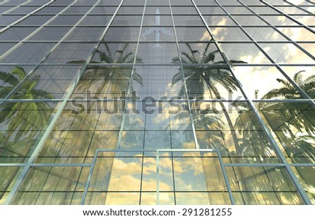 Vacation, travel, tropical resort and tourism concept, skyscraper building on seashore - stock photo