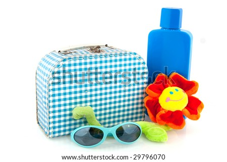 vacation with checkered suitcase suntanning and sunglasses