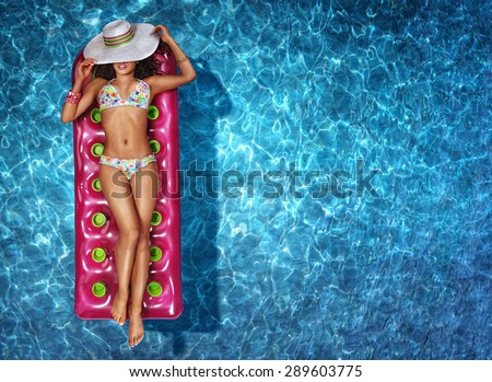 Vacation. Woman in a swimming pool - stock photo