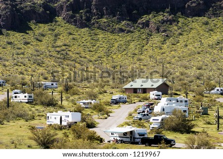 Vacationing in a recreational vehicle at Picacho Peak. - stock photo
