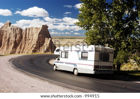 Vacationing in a recreational vehicle in the Badlands National Park.