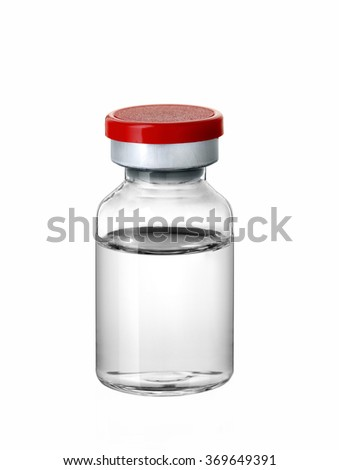 Vaccine Vial isolated on white - stock photo