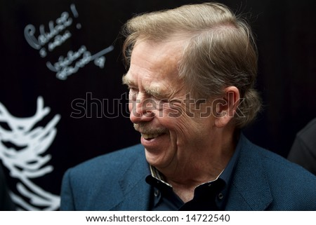 VACLAV HAVEL, PRAGUE, JUNE 20. Writer and scrip writer, the ex-president of the Czech Republic Vaclav Havel at opening of a cult coffee house in the center of Prague POTME - stock photo