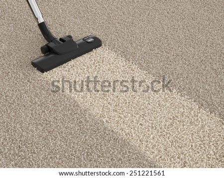 Vacuum cleaner hoover on the dirty carpet. House cleaning concept - stock photo