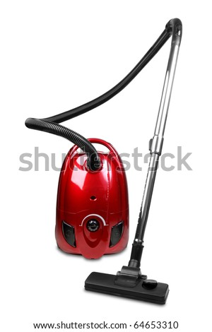 Vacuum cleaner isolated on white background - stock photo