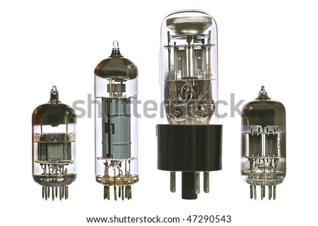 Vacuum electronic radio tubes. Isolated image on white background - stock photo