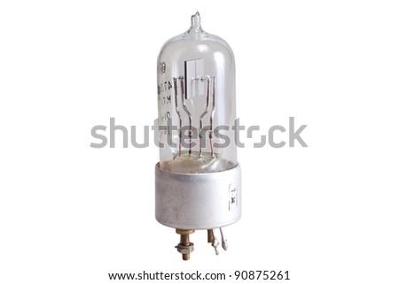Vacuum electronic radio tubes on a white background - stock photo