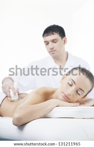 vacuum massage procedure in the medical beauty center