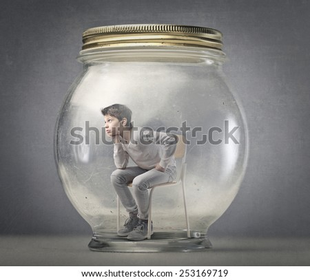 Vacuum-packed boy  - stock photo