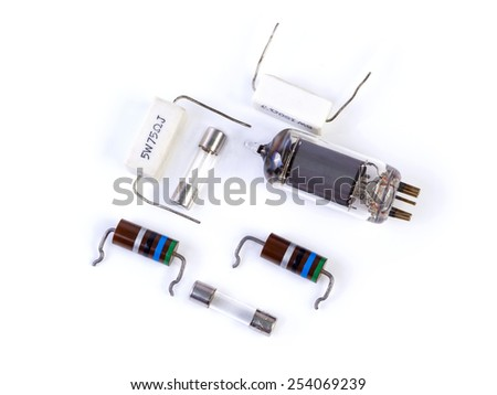 vacuum tube and other components on white background - stock photo