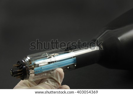 vacuum tube used in an old analog oscilloscope in the lab - stock photo