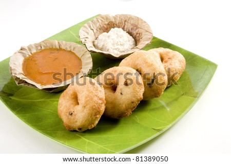 Vada Sambar with Coconut Chutney - stock photo