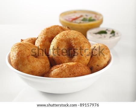 Vada Sambar with Coconut Chutney, Indian Food - stock photo