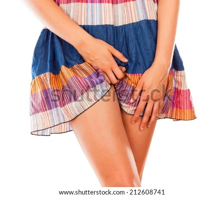 Vaginal discomfort from severe fungous infection. - stock photo