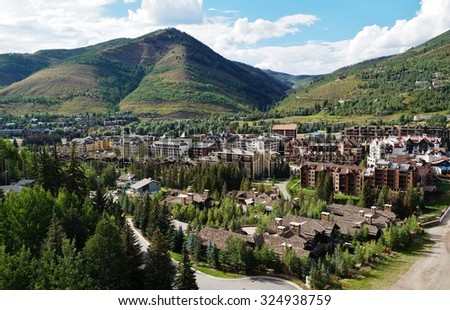 VAIL, CO -20 AUGUST 2013- The village of Vail is a ski resort in Eagle County,  Colorado. It is located in the Sawatch Range of the Rocky Mountains in the Western United States.