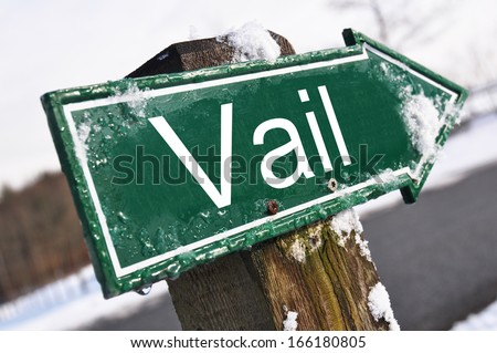 Vail road sign - stock photo