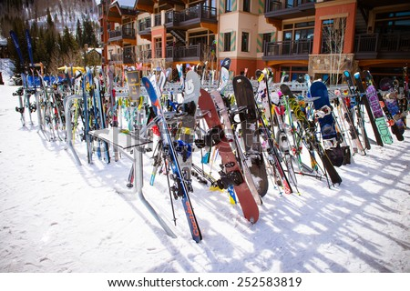 VAIL, USA, FEBRUARY, 13th 2015: SkIers and lift during ski season in Vail, Colorado - stock photo
