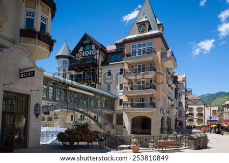 Vail,USA-July 16,2013:The Town of Vail is a Home Rule Municipality in Eagle County, Colorado.The town was established and built as the base village to Vail Ski Resort. - stock photo